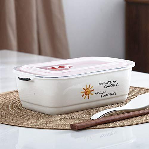UJNCIKFNK Set di Scatole Bento,Ceramica Griglia Pranzo Scatola Microonde Forno con Coperchio Cibi A...
