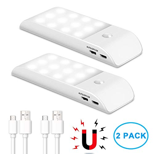 VIDEN Luce Notte LED, Luce LED Sensore di Movimento con Striscia Magnetica Adesiva, Ricaricabile...