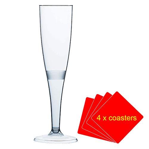 50 x Flute da Champagne in plastica di alta qualità 160 ml (6oz) .Ideal per picnic, campeggio e...