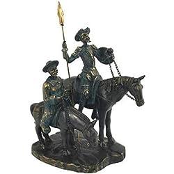 CAPRILO Figura Decorativa de Resina Don Quijote y Sancho con Caballo Adornos y Esculturas. Decoración Hogar. Regalos Originales. 22 x 12 x 15 cm.