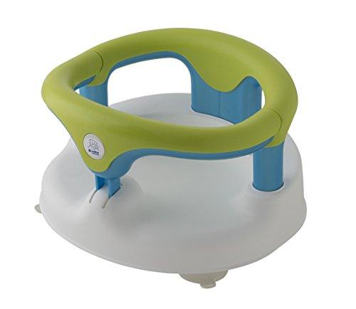 Rotho Babydesign Badesitz, Mit aufklappbarem Ring inkl. Kindersicherung, 7-16 Monate, Bis max. 13kg, BPA-frei, 35x31,3x22cm, Weiß/Apple Green/Aquamarine Pearl