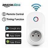 Socket Intelligente Prise,Horsky Prise Connectée Intelligente WiFi Prise Compatible avec Amazon Alexa Android iOS Prise Courant Intelligente Prise de Courant Mise en Veille Programmable 2.4G