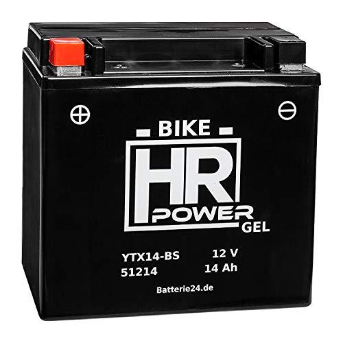 GEL Motorrad Batterie Starterbatterie YTX14-BS 51214 12V 14Ah wartungsfrei