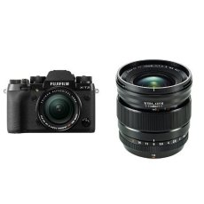 Fujifilm X-T2 - Cámara sin espejo de 24,3 MP, negro - kit con cuerpo y objetivo XF18-55mm F2.8-4 R LM OIS + Fujifilm FUJINON Lens XF16mm F1.4 R WR - Objetivo para cámara, color negro