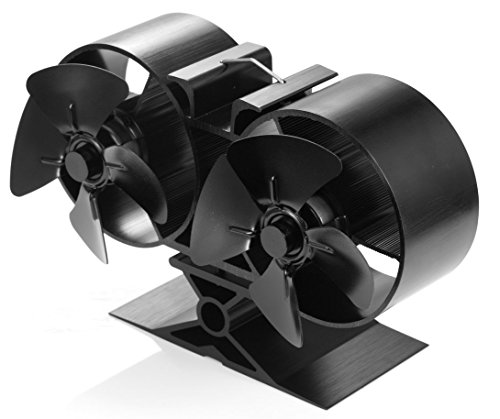 Galleon Fireplaces Stove Fan 8 Blade Heat Powered for Fireplace, Wood / Log Burner - Black - 138mm High