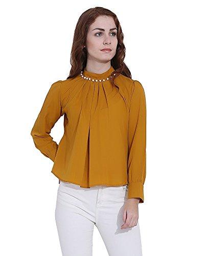 Faishionpro Women's Crepe Top (Fpw00820, Yellow, Medium)