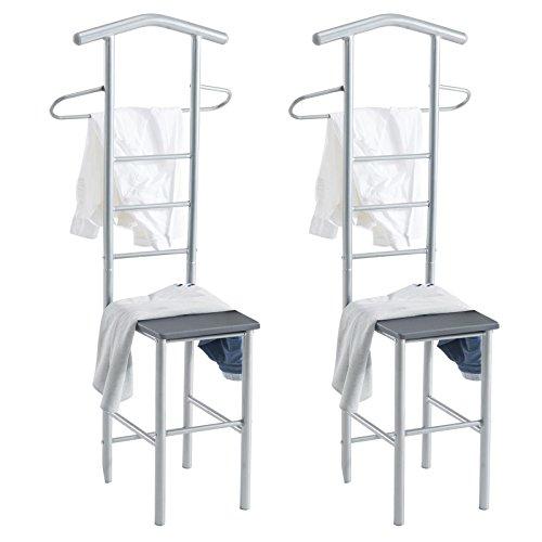 CARO-Möbel Herrendiener 2er-Set JIVO Kleiderständer Garderobenständer, Metall alufarben und MDF in grau
