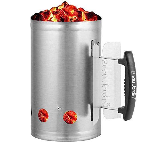 BEAU JARDIN Anzündkamin BBQ Grillkohleanzünder 18x28cm Grillkamin Anzünder Edelstahl Griff mit Hitzeschutzblech