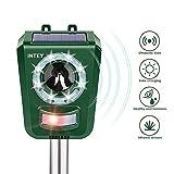 INTEY Katzenschreck Ultraschall Solar und USB Batteriebetrieben, 5 Modus, Tiervertreiber mit LED Blitz, Sensitivität und Frequenz Einstellbar, für Katzen, Hunde, Eichhörnchen, Waschbären usw.