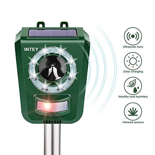 INTEY Katzenschreck Solar und USB Batteriebetrieben, Sensitivität und Frequenz Einstellbar, Tiervertreiber Ultraschall für Katzen, Hunde, Verfügbar, Wenn Eine Kleine Menge Regen Fällt, Green