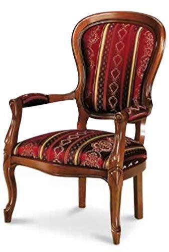 Dafne Italian Design Poltrona Stile '800 Tessuto Liscio Rosso, Stile Classico (cm. L. 66 - H. 103 - P. 70) (TVG)
