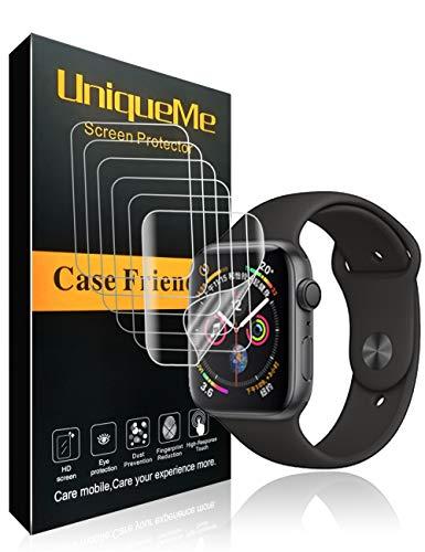 UniqueMe Per Pellicola Protettiva Apple Watch 44mm (Series 4 Compatible), [6 Pezzi] [Bubble-Free] Liquid Skin HD Clear TPU Film Flessibile con Garanzia di Sostituzione A Vita