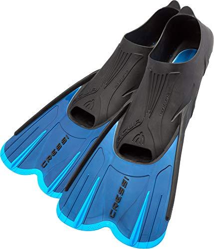Cressi Agua Short Self Adjusting, Pinne Lunge e Corte per Immersioni, Apnea, Snorkeling e Nuoto Unisex - Adulto, Blu/Azzurro, 43/44
