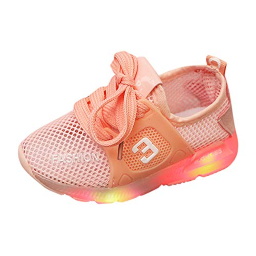 Sunward 1-6 Years Baby Childen Shoes Toddler Infant Kids Girls Mesh Breathable LED Luminous Sport Sneakers Pink