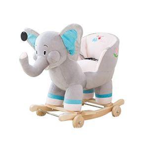 Caballo de oscilación del bebé, Música Rocking Horse Silla mecedora de madera Juguete para bebés Pequeño Caballo de…