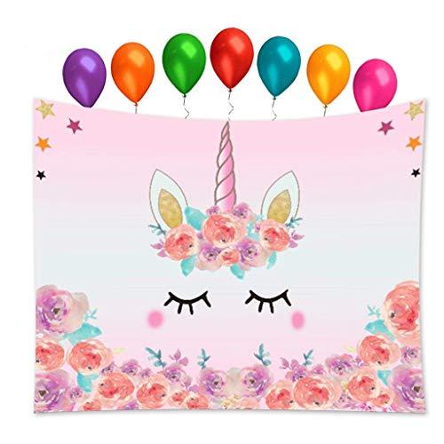 Tumao Arazzi Unicorno Murale E 7 Pezzi Rainbow Color Compleanno Palloncino per Camera da Letto, Soggiorno, Festa di Compleanno - Arazzi Dimensione 78,7 x 59 Pollici, Rosa Chiaro