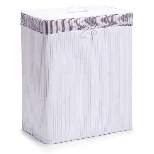 Zeller 13415 Wäschesammler, 2-fach, Bamboo, 52 x 32 x 63 cm, weiß