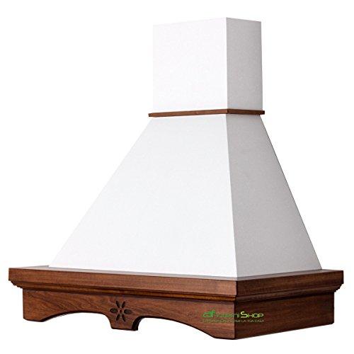 Cappa cucina rustica legno AGNY 90 noce scuro camino bianco