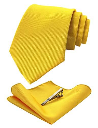 JEMYGINS Set di Cravatta Giallo e Seta Fazzoletto da Taschino con Fermacravatta Uomo(3)