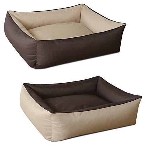 BedDog 2in1 Max Duo Beige/Marrone XXL, 120x85 cm, Letto per Cane XL Fino a XXL, 6 Colori a Scelta, Cuscino per Cane, Divano per Cane, Cestino per Cane