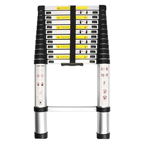 WolfWise 3,8M Teleskopleiter, Rutschfester Klappleiter Stehleiter Mehrzweckleiter aus hochwertiges Aluminium, 150 kg/ 330 Pfund Belastbarkeit, Schwarz