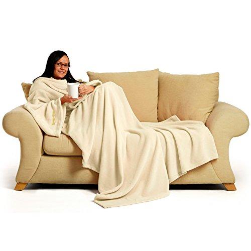 Snug Rug Coperta con maniche integrate per adulti, molto felpata, colore: Crema