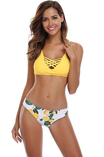 SHEKINI Damen Crossover Netz Gepolstert Bikini Set Zweiteilige Strandkleidung Bandeau Strandmode Blumen Druck Bikinihose (Medium, Muster A: Gelb)