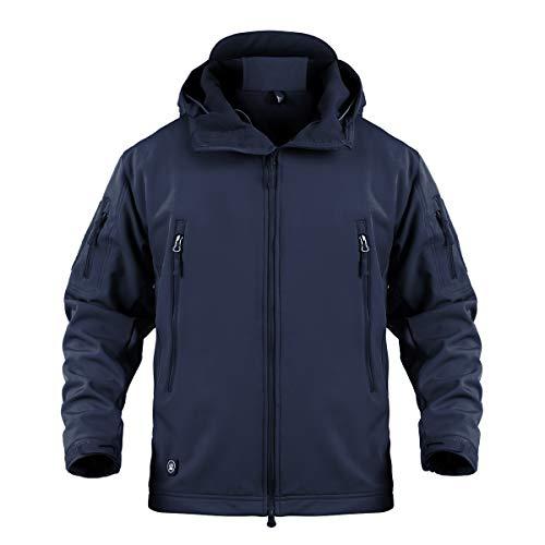 Memoryee Chaquetas de Softshell para Exteriores Impermeables para Hombres Abrigos tácticos Militares cálidos Camuflaje Abrigo/Azul marino/3XL
