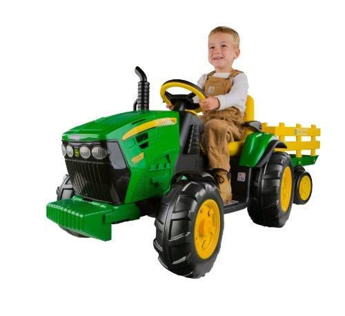 #John Deere Ground Force Kinder Elektro Traktor von Peg Perego 12 Volt mit Anhänger#
