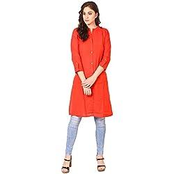 SAADGI Women's Cotton Linen Solid Straight Front Button Kurta