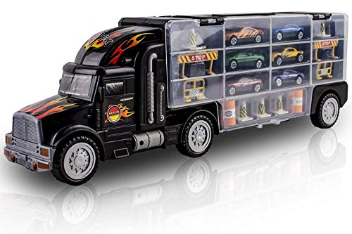 WolVol Transport Car Carrier Truck Toy For Kids (Includes 6 Cars And 28 Slots)