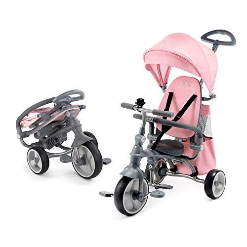 Kinderkraft Triciclo JAZZ 4in1 Bicicletta Passeggino Regolabile Pieghevole per Bambini con Maniglione Spinta Borsa Per bambino dalla 9 mesi fino 5 anni Rosa