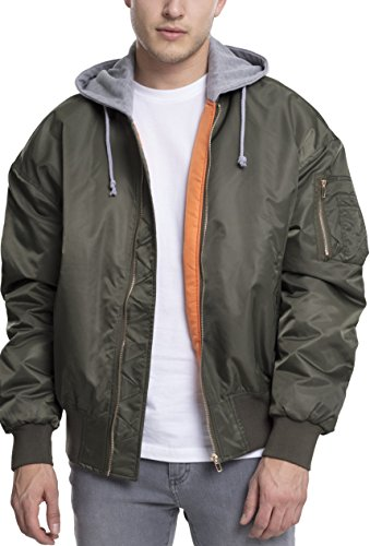 Urban Classics Hooded Oversized Bomber Jacket, Mehrfarbig (Olv/Gry 1161), Large Uomo