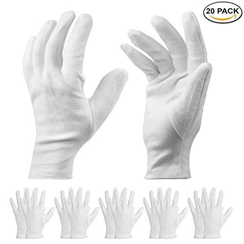 10 Paia Guanti Bianchi Cotone – Cosmetici Idratante Terapeutico Guanti per Mani asciutte, Eczema,...
