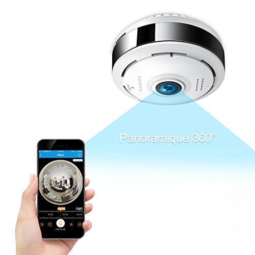 Caméra Sécurité WiFi 960P FREDI IP, Caméra de Surveillance Panoramique 360 Degrés,Caméra WiFi sans Fil Détecteur de Mouvement Infrarouge à Vision Nocturne, Babyphone Bidirectionnel(Carte Non Fournie)