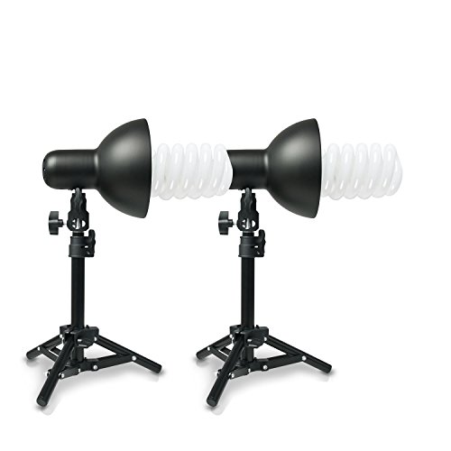Hochwertige HAUSER & PICARD 400 Watt Foto-Lampe 2x Foto-ESL + 2x Tisch-Foto-Stativ | Foto-Licht / Foto-Beleuchtung inklusive 2x Schnellstart-Tageslichtlampe (5500 K) mit 400 Watt Äquivalenzleistung und 2x Tisch-Foto-Stativ