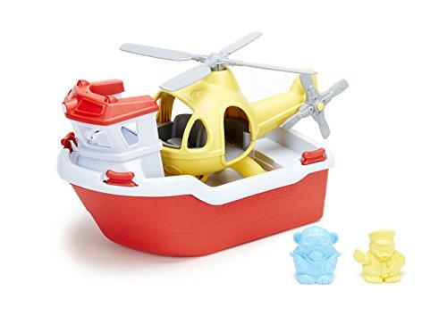 Green Toys Bateau de Sauvetage et l'Hélicoptère Jouet avec Mini Figurines