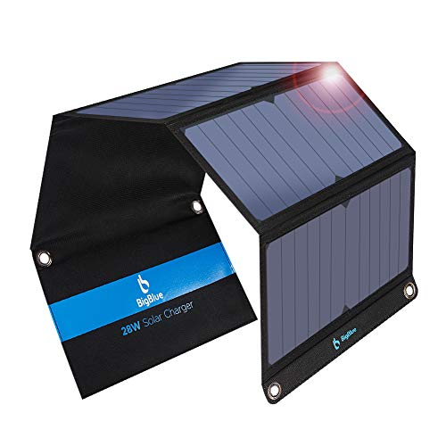 BigBlue 28W Cargador Panel Solar con 3 Puertos (2 USB y 1 USB-C), Placa Solar Impermeables con Type-C Puerto para Dispositivos USB, USB-C, iPhone, Android, GoPro Etc