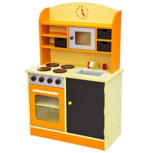 TecTake Cuisine en Bois pour Enfants Jeu du Rôle - diverses couleurs au choix - (Jaune Rouge)