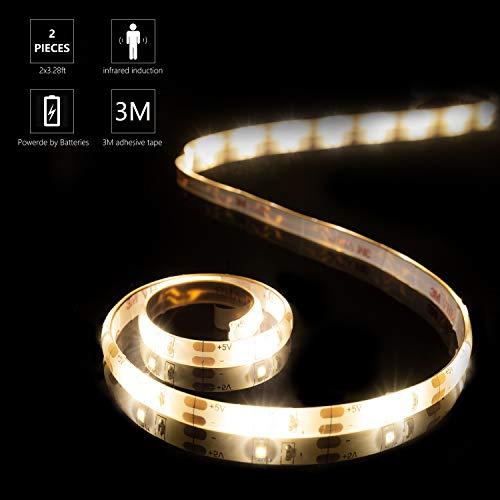 YOUKOYI Luci a striscia LED con sensore di movimento,2 Pcs impermeabile LED batteria azionato 4000K...