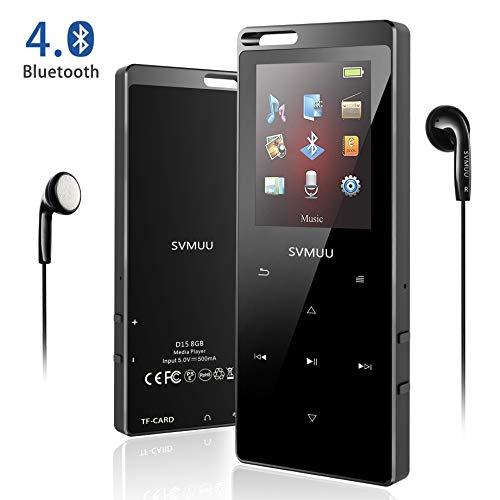 SVMUU Lettore MP3 Bluetooth da 8GB, Lettore Musicale MP3 Player per Sport e Corsa da 1.8 pollici con...