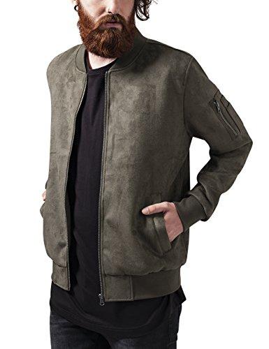 Urban Classics Imitation Suede Bomber Jacket Giacca, Grün (Olive 176), Medium Uomo