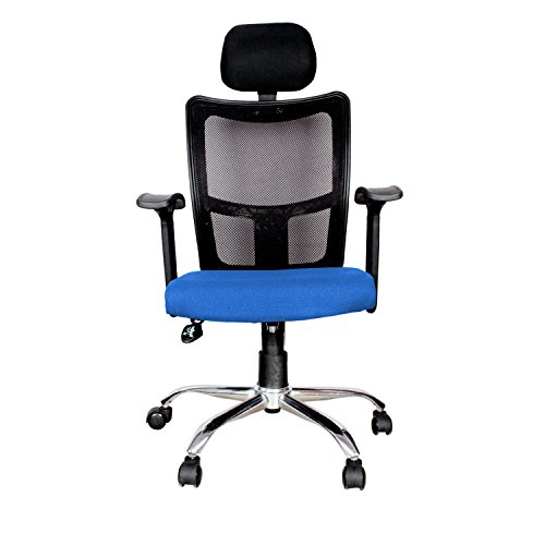 Rajpura Brio High Back Revolving Chair with Headrest and Push Back Mechanism in Blue Fabric and Black mesh/net Back Office Executive Chair