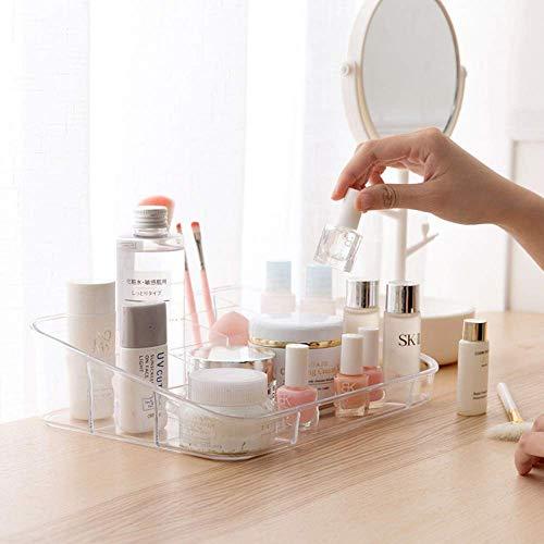 Vanity Tray Cosmetic Display Case Makeup Organizer Brush Holder for Bathroom Drawers Vanity Countertops, Crystal Gray Acrylic- 8 Slot