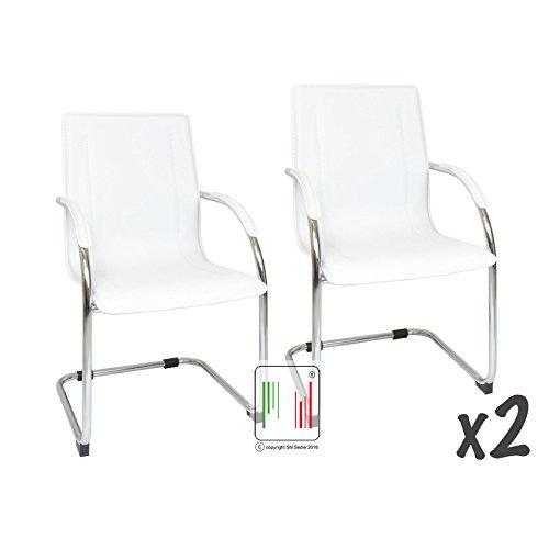 Stil Sedie Set 2 poltrona attesa con braccioli Milano, sedia per sale conferenza, sedia per gli ospiti con seduta ampia bianco