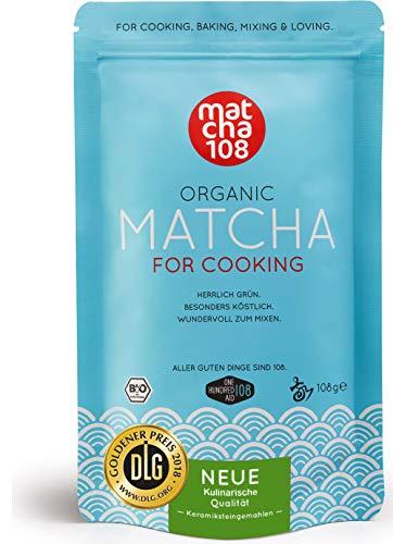 Matcha Pulver Tee 108 - Bio Premium Qualität (für kräftiges Tee-Aroma zum Mixen) - Ideal für Smoothie, Latte, zum Kochen & Backen - Zertifiziertes Grüntee Pulver [108g Culinary Grade Green Tea]