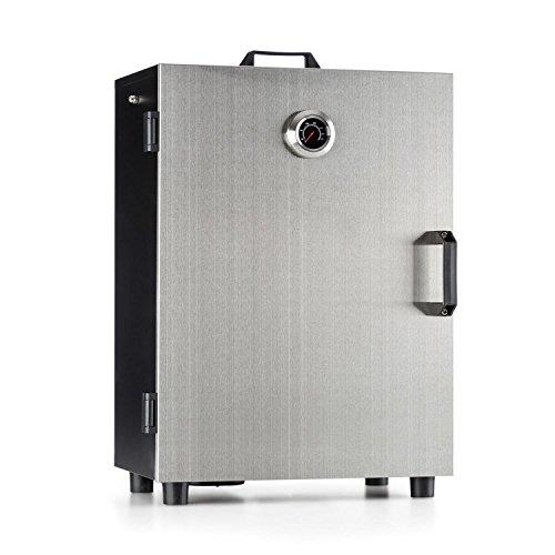 Klarstein Flintstone Steel - Forno Affumicatore Elettrico, 800 W, 3 Griglie di affumicazione da 40 x 25 cm, Termometro Fino a 350 °C, Valvola di aerazione, recipiente Rimovibile, Acciaio Inox