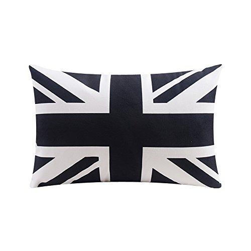 POPRY Il Bianco e Nero Jack Geometrica di Flanella Cuscino per divani Cuscini Cuscino Nap,30x50cm