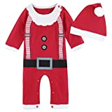 MOMBEBE COSLAND Costume Natale Bimbo Natale Babbo Bebè Pagliaccetto (Rosso, 12-18 Mesi)