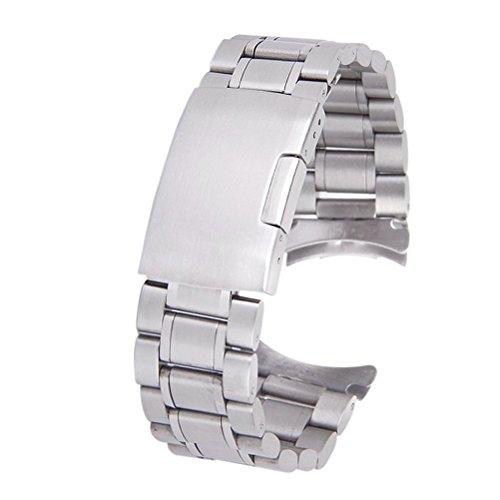 LUOEM 20mm Watch cinturino in acciaio inox Orologio Cinturino Bracciale curvo fine con orologio Pins primavera bar